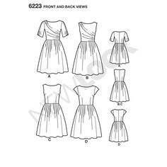 misses' dress with side pockets & back zipper can be made sleeveless, with   cap sleeves or with slightly ruched short sleeves. bodice has darts or asymmetrical draping. new look sewing   pattern.
