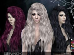 Stealthic – Sleepwalking (Female Hair) for The Sims 4 Women's Hairstyle by Stealthic Available at The Sims Resource DOWNLOAD -Minor transparency issues-Compatible with hats-18 Colors-All LOD's-Teen through elder-No body morphs-Smooth weighting My first intensely wavy hair! Enjoy  Check creator notes if you're having issues. Creator Notes Make sure you aren't in laptop mode! And make sure you are updated to the latest sims version or it won't show in game.Please don't retexture my hair …