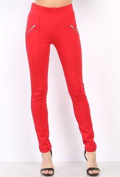 zipper detail high waist jeggings