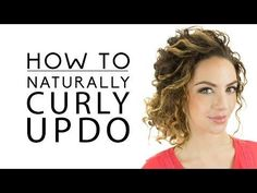 Updo for natural curls. Messy in a cute way. The girl in the video has short hair. I'll see if I can make it work on my longer hair.