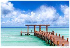 Caribbean Sea Pier Playa del Carmen Art by Mark E Tisdale