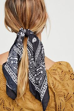 Bandana Scarf Pony by Free People, Black, One Size Short Hair Updo, Short Hair Styles Easy, Curly Hair Styles, Natural Hair Styles, Face Shape Hairstyles, Scarf Hairstyles, Straight Hairstyles, Braided Hairstyles, Cool Hairstyles