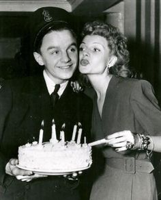 Rita celebrates a servicemans birthday at the Hollywood Canteen.