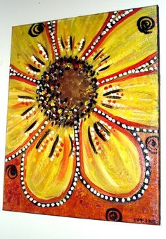 This is an 16x20 gallery wrapped canvas.. A whimsical canvas painting of a pop-art style bright yellow flower. $100 plus shipping