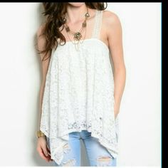 FF1 Tops - Sizes small & Large white lace lined bohemian top