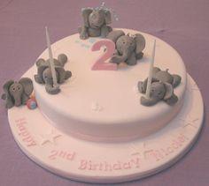 2nd Birthday Cake - Elephants
