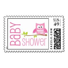 Cute little pink owl baby shower postage stamp for a girl