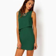 COLROVE Party Dresses Women Clothing 2016 New Style Back Zipper Round Neck Sleeveless Ruffle Chiffon Short Dress