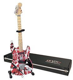 EVH Minature Guitars EVH001 Frankenstein Mini Replica Guitar Van Halen, Red & White  Officially licensed EVH miniature guitar  Handcrafted with INCREDIBLE DETAIL  Complete with a stand and foil-stamped collectors gift box  1/4 scale official miniature replica
