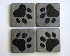 Tumbled Slate Coasters  Pawprint Coasters  by TwoCraftyChickies, $12.00