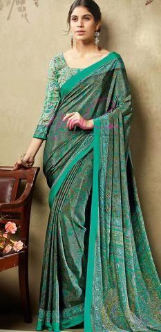 52 Best Crepe Silk Saree images in 2017   Crepe silk sarees