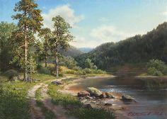 Сосны на берегу озера. Репродукция картины М.Сатарова