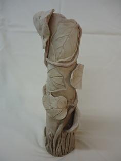 handbuilt greenware leaf vase - another view - Michael MacDonald
