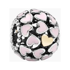 PANDORA 'Abundance of Love' Bead Charm (4.470 RUB) ❤ liked on Polyvore featuring jewelry, pendants, pandora, heart shaped jewelry, 14 karat gold jewelry, heart charms, pink heart jewelry and charm jewelry