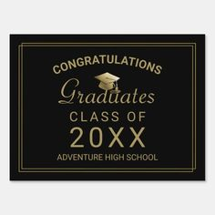 UV Print Corrugated Plastic Sheets 24x18 Congrats name school name Class 2020 place your name and your/'s school name yard sign