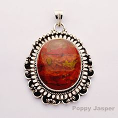 Huge Poppy Jasper pendant set in sterling silver. Limited edition sunroesilver.com  All the colors of the perfect sunset!! #sunroe #Sunset #poppy #sunroesilver Pendant Set, All The Colors, Jasper, Poppy, Gothic, Sunset, Sterling Silver, Big, Goth