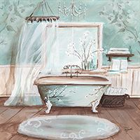 Contemporary Bathroom Art Prints rb8506ts <br> rustic french bath i <br> 12x12 | decoupage