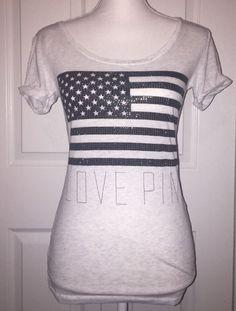 Victoria's Secret Love Pink Studs Flag Bling 4th Of July T Shirt Tee Size XS  VS    eBay
