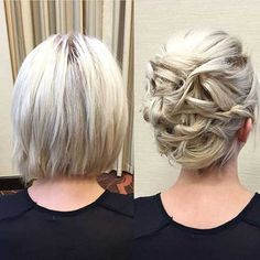 Updo for Short Hair, Hair Chignon Updo Short, Hair Up for Short Hair, Updo Hair Wedding Updos Elegant Hairstyles, Short Bob Hairstyles, Bride Hairstyles, Teenage Hairstyles, Medium Hairstyles, Beautiful Hairstyles, Bob Haircuts, Bob Hair Updo, Hairstyle Ideas