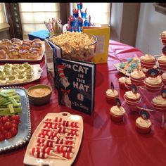 Dr. Seuss Menu: Cat in the hat's hats Red fish in blue jello Deviled Green Eggs & Ham Sliders Hop on Popcorn