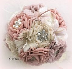 Brooch Bouquet, Wedding, Bridal, Jeweled, Ivory, Tan, Blush, Rose, Dusty Rose, Feathers, Lace, Pearls, Crystals, Vintage, Gatsby Wedding...$375
