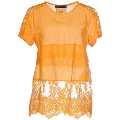 Twin-set Simona Barbieri Blouse ($115) ❤ liked on Polyvore featuring tops, blouses, orange, twin set tops, lace blouse, beige top, short sleeve tops and lacy blouses