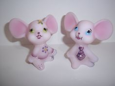 ADORBS gift for a #BRIDE! Fenton Glass Pink Church Mouse Pair Bling Accent #5/10 Ltd Ed GSE J K Spindler