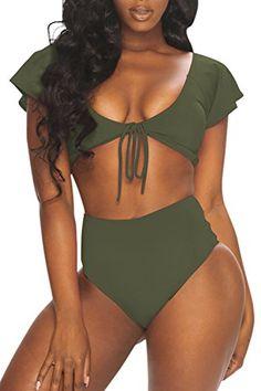 35617792db964 Viottis Women s Cap Sleeve Crop Top Padded High Waisted Bikini Set Swimsuit