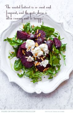 Baie lekker! Met ekstra oondgeroosterde neute en camembert; veral as voorgereg saam met butternut sop soos wat ons vanaand eet ;-)  BvdW* - Found on The Pretty Blog: Fairview-goats-cheese-beetroot salad-001
