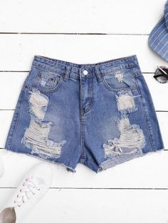SHARE & Get it FREE | Ripped Cutoffs Denim Shorts - Denim Blue SFor Fashion Lovers only:80,000+ Items • New Arrivals Daily Join Zaful: Get YOUR $50 NOW!