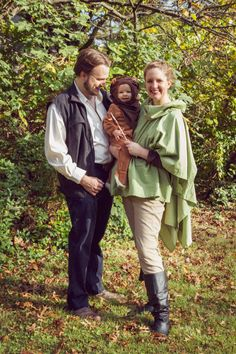 Baby ewok, Han Solo, and Princess Leia costume from Return of the Jedi (family Star Wars Halloween costumes)
