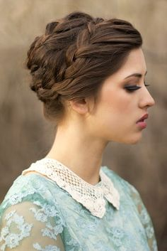 18 Quick and Simple Updo Hairstyles for Medium Hair - PoPular Haircuts Braided Hairstyles Updo, Braided Updo, Pretty Hairstyles, Girl Hairstyles, Wedding Hairstyles, Milkmaid Braid, Hair Updo, Civil War Hairstyles, Wedding Updo