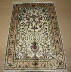 "2'6""x4' Handmade Hand-knotted 450 kpsi Silk Oriental Persian Tabriz Rug B439.#Nice xxx"