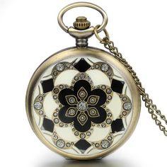 Lancardo Fashion Bronze Vintage Pocket Watches Necklace Chain Pendent Flower Quartz Pocket Watches Mens Relogio De Bolso