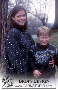 DROPS genser i Karisma med lus og glidelås. Voksen str og str 2 år-13