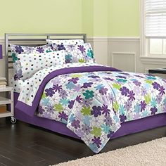 First At Home Graphic Daisy Comforter Set Queen Purple * Find out more about the great product at the image link.