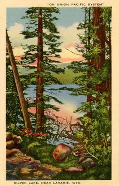 Silver Lake on Union Pacific near Laramie Wyoming Vintage Postcard. $5