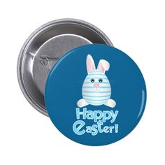 Happy Easter Bunny Egg Button