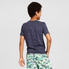 Boys' Heathered V-Neck T-Shirt - Cat & Jack, Size: Small, Blue, Durable