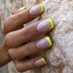 Aycrlic Nails, Nail Manicure, Swag Nails, Nail Polish, French Nails, French Acrylic Nails, French Nail Designs, Gel Nail Designs, Uñas Color Neon