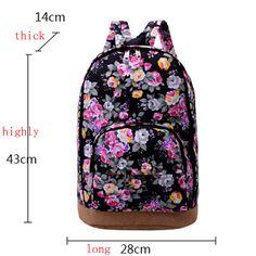 Women Girl Floral Canvas Travel Satchel Shoulder Bag Backpack School Rucksack | eBay