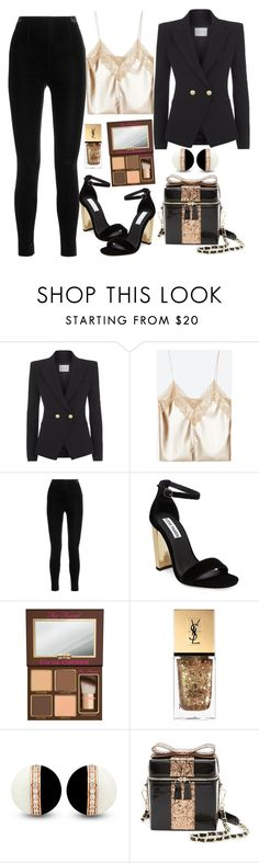 """Untitled#1568"" by mihai-theodora ❤ liked on Polyvore featuring Pierre Balmain, Balmain, Steve Madden, Too Faced Cosmetics, Yves Saint Laurent and Alice + Olivia"