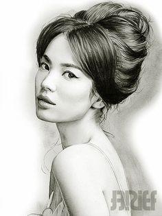 Art Drawings of Women | Song Hye Kyo DRAWING by riefra karakalem japon kadını resmi ...