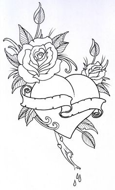 Tattoo Coloring Book Pages Beautiful Roseheart Outline 1 by Vikingtattooviantart On Printable Adult Coloring Pages, Coloring Pages To Print, Colouring Pages, Coloring Books, Rose Heart Tattoo, Heart Outline Tattoo, Heart Tattoos, Mom Tattoos, Skull Tattoos
