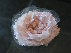 Vintage Style Flower Tutorial using doilies, tulle, tissue paper, cardstock, mulberry paper, vellum, book pages, etc.