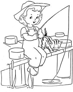 Favorite Paint Book — Little Girls – Q is for Quilter Hand Embroidery Designs, Vintage Embroidery, Embroidery Patterns, Coloring Book Pages, Coloring Pages For Kids, Adult Coloring, Yellow Quilts, Fishing Girls, Doll Quilt