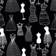 Michael Miller House Designer - Mod Prints - Dressforms in Black Miller House, Dress Form Mannequin, Black And White Fabric, Black White, Michael Miller Fabric, White Fabrics, Couture, Mannequins, Tutorials