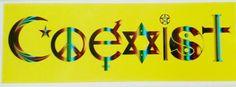Bumper Sticker: COEXIST Symbols Peace Evolution Harmony Rainbow Style