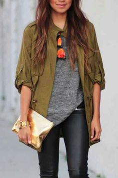 slouchy army coat, loose tuck and skinnies with a pop of gold