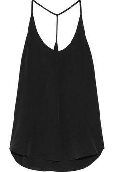 Black silk-crepe  Slips on 100% silk Dry clean Imported